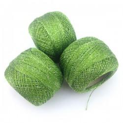 Kordonek matalizowany zielony - srebro