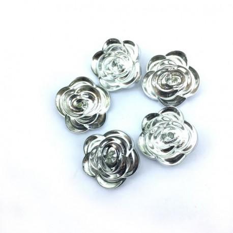 Guzik kwiat srebrny