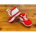 Buciki dziecięce 10 cm adidaski sportowe biało-czerwone