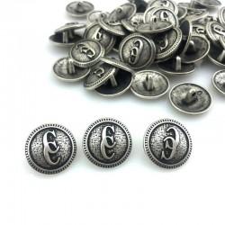 Guzik metalowy srebro CC