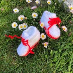 Buciki adidaski biel czerwony łosoś, 12 cm