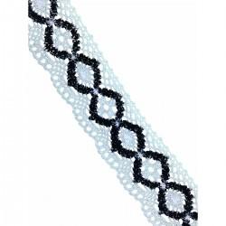 Taśma ozdobna 3,5 cm biel i czerń