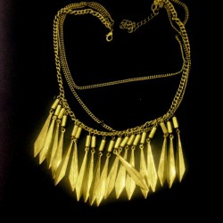Naszyjnik metalowy  piórka (kolia) stare złoto
