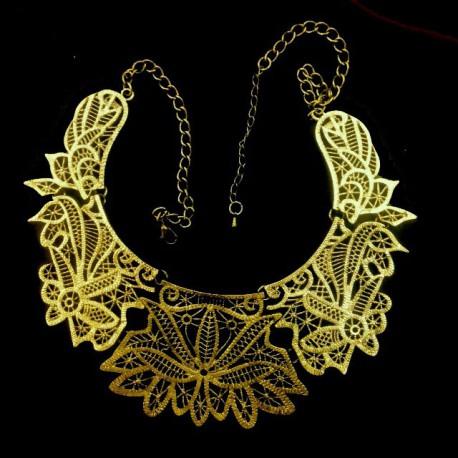 Naszyjnik metalowy ( kolia) stare złoto